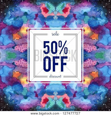 Sale 50 percent off discount sign on abstract cosmic kaleidoscope watercolor background. Seamless Galaxy pattern in the swatches panel. Indigo pink purple violet yellow blue vector template.