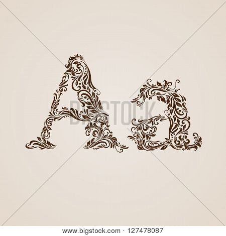 Handsomely decorated letter A in upper and lower case.