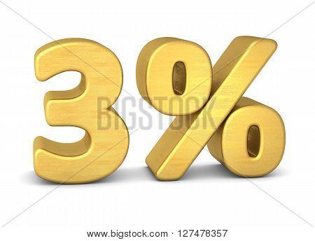 3 percent symbol 3d rendering gold metallic