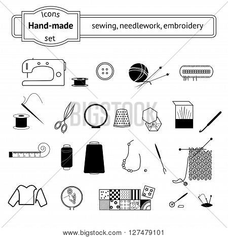 Knitting sewing and needlework line icons collection. Knitting items sewing equipment and needlework elements