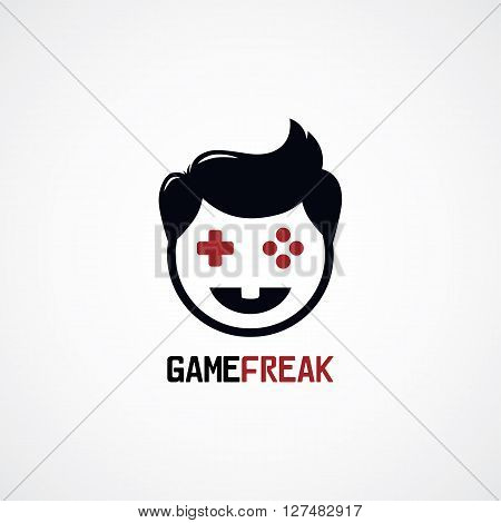 game freak video game joystick logotype vector illustration