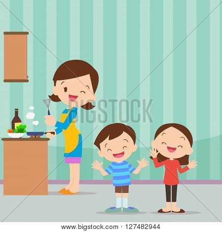 happy family with mom and children cooking in kitchen vector cartoon illustration