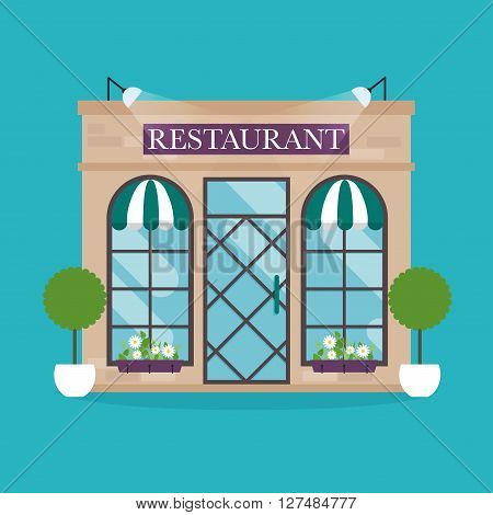 Vector Illustration Of Restaurant Building. Facade Icons. Ideal For Restaurant Business Web Publicat