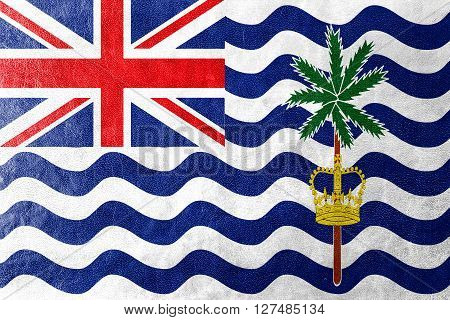 Flag Of British Indian Ocean Territory, Painted On Leather Texture