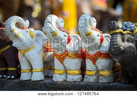 Three White Stone Elephant Statues In Thailand