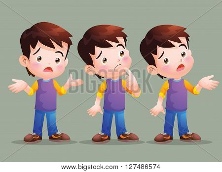 Vector of Cute boy have question in many actions.