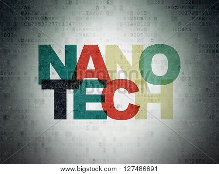 Science concept: Painted multicolor text Nanotech on Digital Data Paper background