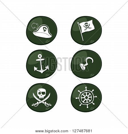 pirate sign icon set vector art illustration