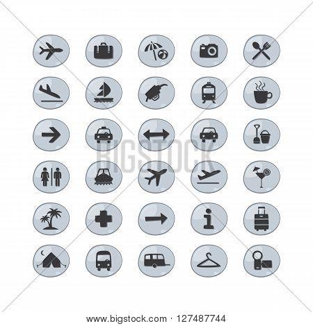 airport icon set theme vector art illustration