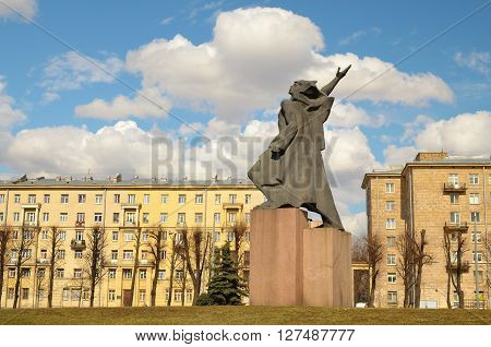 Russia.Saint-Petersburg.April 24.4.2016.Monument Komsomol of the city on the square.
