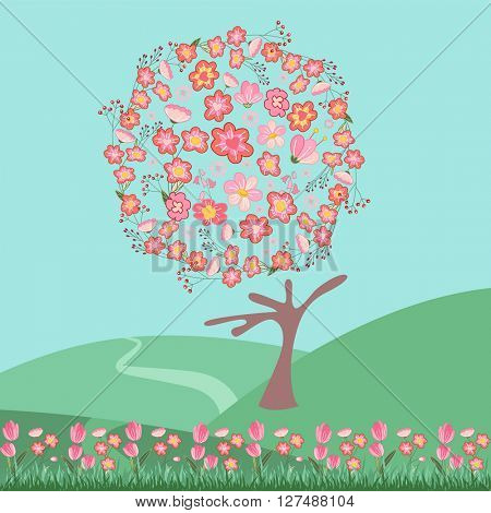 Stylized tree . Topiary with different flowers;