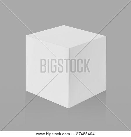 White Box (cube) On Gray Background