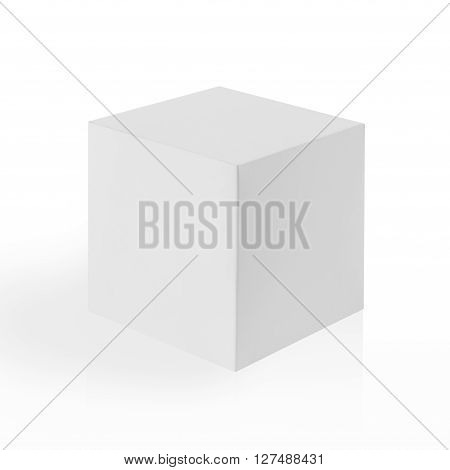 White Box (cube) On White Background