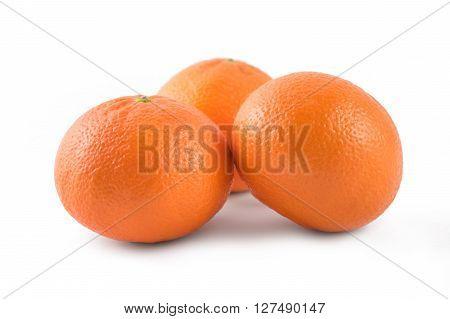 Three Mandarins Orange Isolated On White Background