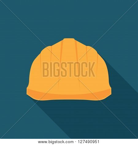 Construction Helmet Icon. Hard Hat Icon. Helmet Builder Icon. Construction Helmet Icon with long shadow.