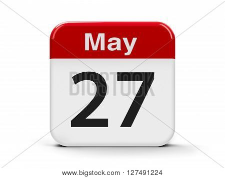 Calendar web button - The Twenty Seventh of May three-dimensional rendering 3D illustration