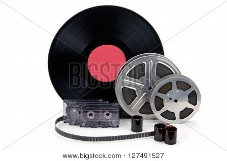 Old film reel with strip black and white cinefilm photo film audio recording