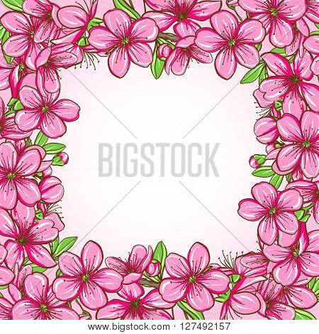 Peach blossom. Decorative floral frame pattern of spring flowers