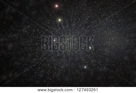 Lyra lyre constellation 3D illustration with colorful stars