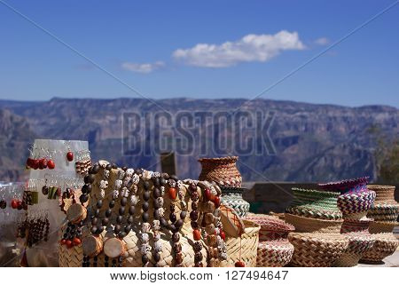 Tarahumara made souvenirs in the Copper Canyons Chihuahua Mexico