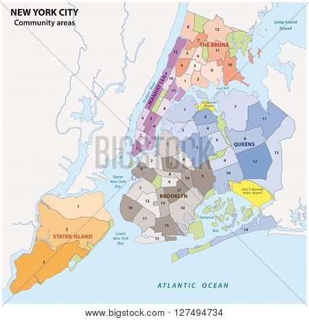 administrative map of new york city, boroughs, districts and neighborhoods