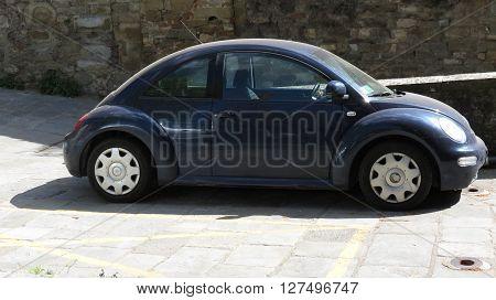 Blue Volkswagen New Beetle