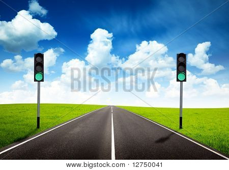 road and green traffic light