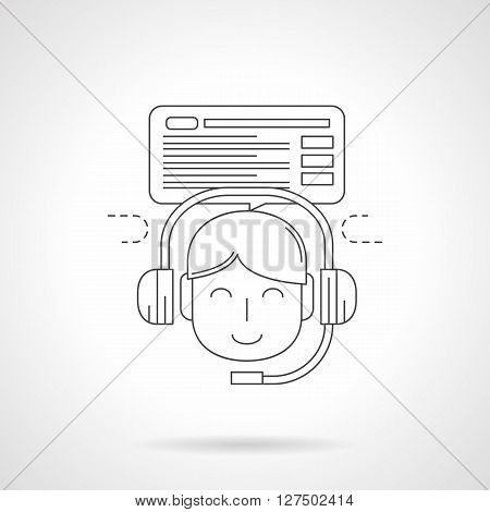 Smiling cute young person with headphones and microphone and think cloud with abstract text. Distance learning. Detailed flat line vector icon. Web design elements for business, site, mobile app.