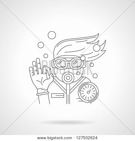 Diver with mask and aqualung console shows sign OK underwater. Water sport and recreation. Diving and snorkeling. Detailed flat line vector icon. Web design elements for business, site, mobile app.