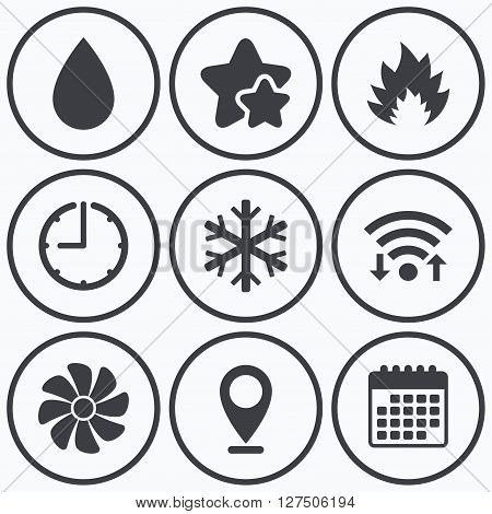 Clock, wifi and stars icons. HVAC icons. Heating, ventilating and air conditioning symbols. Water supply. Climate control technology signs. Calendar symbol.