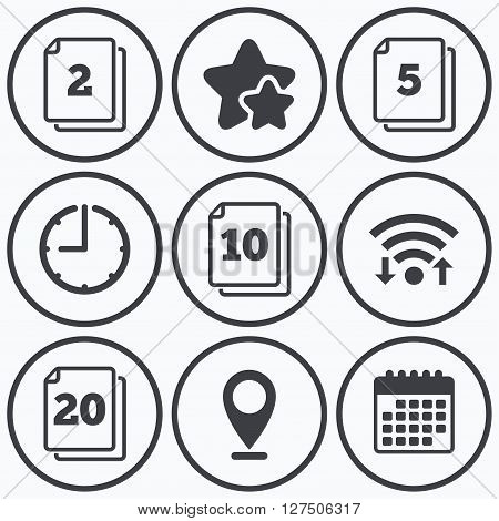 Clock, wifi and stars icons. In pack sheets icons. Quantity per package symbols. 2, 5, 10 and 20 paper units in the pack signs. Calendar symbol.