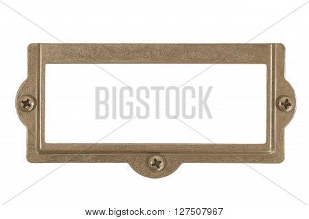 Antique brass name plate isolated on white background