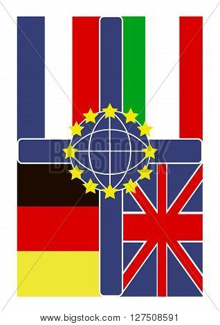 Cross and  flags of the European Union