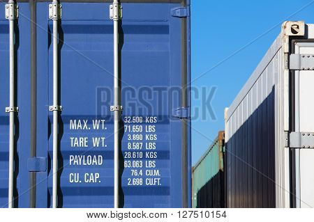 Close - up Blue container shipping at dockyard