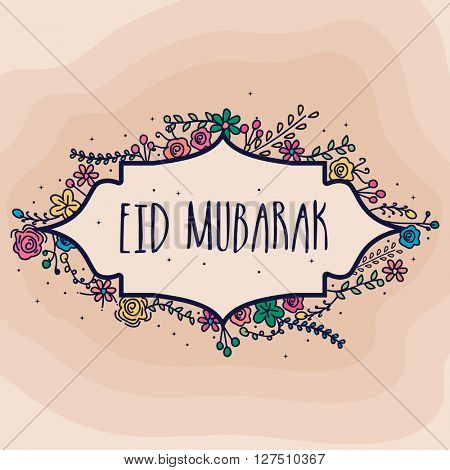 Colourful flowers decorated greeting card design for Islamic Famous Festival, Eid Mubarak celebration.