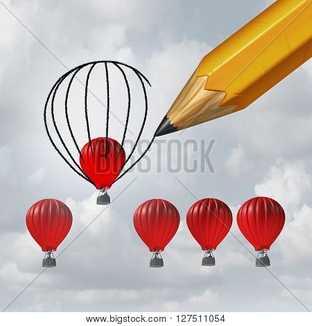 Make things better and improvement concept as a group of competing air balloons as one individual winer is helped by a pencil drawing a bigger shape resulting in an advantage with 3D illustration elements.