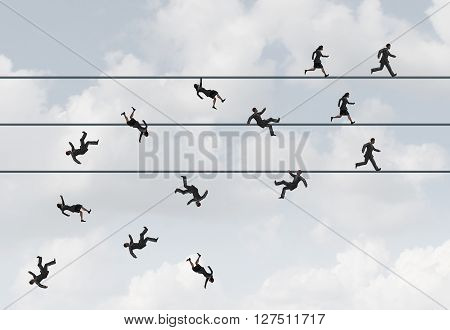 Business race concept and corporate do or die symbol as a group of businesspeople running on a high wire with losers falling and winners winning as a metaphor for career competition with 3D illustration elements.