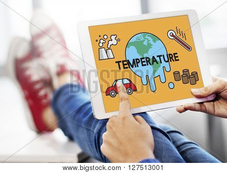 Temperature Save Earth Pollution Planet Environment Climate Change poster