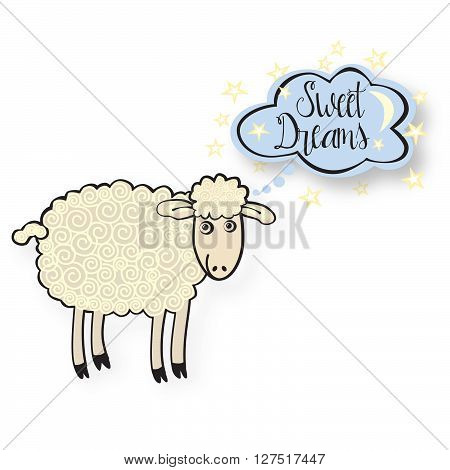 Cute sheep with text bubble, saying sweet dreams
