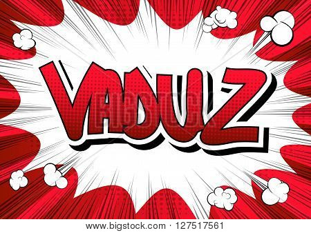 Vaduz - Comic book style word on comic book abstract background.
