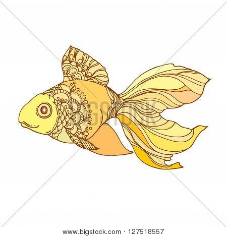 hand drawn ink golden fish on white background. Coloring page - design for poster print t-shirt invitation banners flyers.