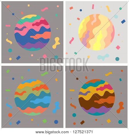Colorful party circle , colorful world set