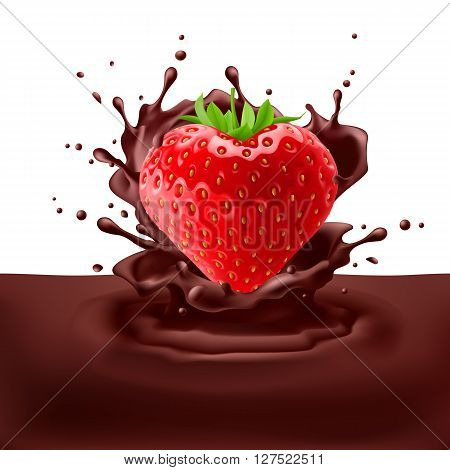 Juicy strawberry heart dipping into chpcolate with splashes