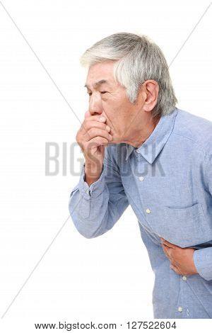 senior Japanese man feels like vomiting  on white background