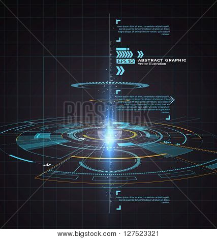 Three-dimensional interface technology science fiction scene,