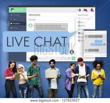 Live Chat Chatting Communication Digital Web Concept