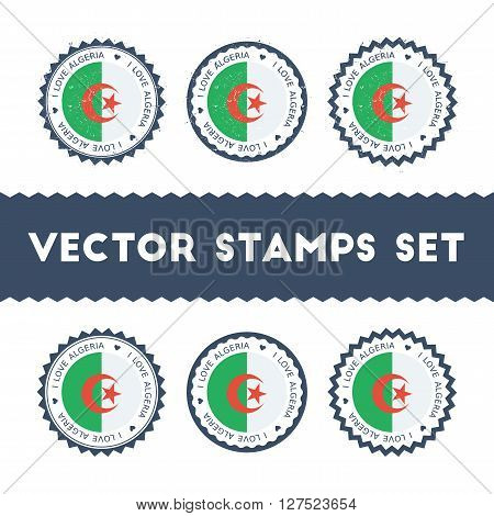 I Love Algeria Vector Stamps Set. Retro Patriotic Country Flag Badges. National Flags Vintage Round