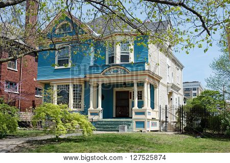 Blue & White Victorian House
