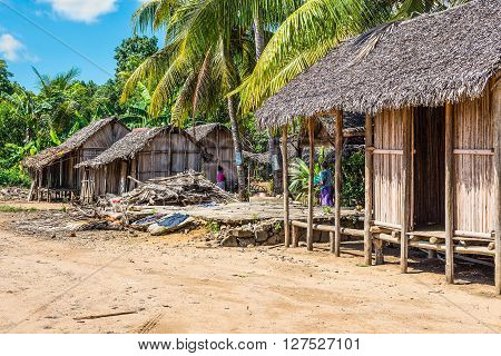 Ambatozavavy Nosy Be Madagascar - December 19 2015: Malagasy typical village on the beach in Nosy Be island north of Madagascar.