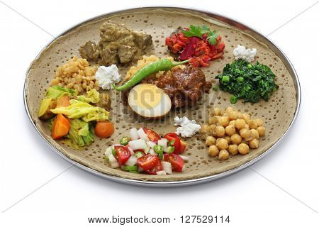 ethiopian cuisine isolated on white background